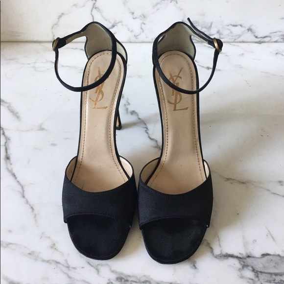 3fd6fe518130e Yves Saint Laurent Shoes | Black Satin Evening Sandals | Poshmark